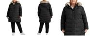 Lauren Ralph Lauren Plus Size Faux-Fur-Trim Hooded Down Coat