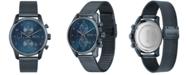 BOSS Men's Chronograph Skymaster Blue Ion-Plated Mesh Steel Bracelet Watch 44mm