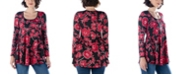 24seven Comfort Apparel Women's Floral Long Sleeve Scoop Neck Swing Top