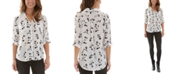 BCX Juniors' Collared Floral Button-Up Blouse