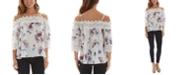 BCX Juniors' Floral-Print Crochet-Trim Cold-Shoulder Top