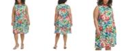 Calvin Klein Plus Size Floral-Print Trapeze Challis Dress