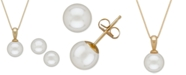 Macy's Akoya Cultured Pearl (6mm) Pendant Necklace and Matching Stud Earrings Set in 14k Gold
