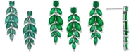 Macy's Emerald Vine-Inspired Drop Earrings (5-1/4 ct. t.w.) in Sterling Silver