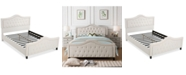 Noble House Bazine Queen Upholstered Bed with Footboard