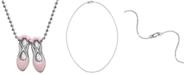 """Alex Woo Pink Enamel Ballet Slipper 16"""" Pendant Necklace in Sterling Silver"""