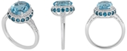 Macy's Blue Topaz (2-1/3 ct. t.w) and White Topaz (1/6 ct. t.w) Ring in Sterling Silver