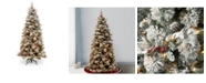 National Tree Company National Tree 7 .5' Snowy Bedford Pine Slim Tree with Red Berries, Cedar Leaves, Mixed Cones 500 Clear Lights
