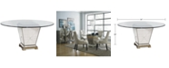 """Furniture Marais Table, 54"""" Mirrored Dining Table"""