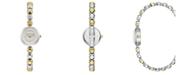 BCBGMAXAZRIA Ladies Two Tone Bracelet Watch with Silver Dial, 20mm
