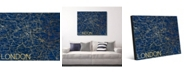 """Creative Gallery City of London Map in Midnight Blue 20"""" x 24"""" Metal Wall Art Print"""
