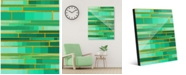 """Creative Gallery Color Palette Yellow Outline - Aqua Green Abstract 16"""" x 20"""" Acrylic Wall Art Print"""