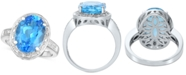 Macy's Blue Topaz (6-1/2 ct. t.w.) & Diamond (1/10 ct. t.w.) Statement Ring in Sterling Silver