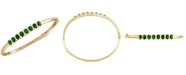 Macy's Emerald (3-1/8 ct. t.w.) & Diamond (1/8 ct. t.w.) Bangle Bracelet in 14K Gold over Sterling Silver (Also Available in Ruby, Sapphire, and Tanzanite)