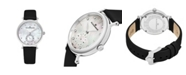 Stuhrling Alexander Watch A201-01, Ladies Quartz Small-Second Watch with Stainless Steel Case on Black Satin Strap