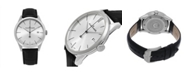 Stuhrling Alexander Watch A911-02, Stainless Steel Case on Black Embossed Genuine Leather Strap
