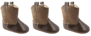 Baby Deer Baby Unisex Textured PU Western Boot with Embroidery and Piping