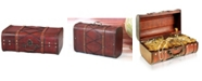 Vintiquewise Antique Cherry Wooden Suitcase with Leather X Design