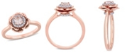 Macy's Morganite (1/3 ct. t.w.) and Diamond (1/10 ct. t.w.) Flower Halo Ring in 10k Rose Gold