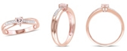 Macy's Morganite (1/4 ct.t.w) and Diamond (1/20 ct. t.w.) Heart Ring in 18k Rose Gold Over Silver