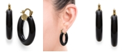 Macy's Black Onyx (25 mm)  Hoop Earrings in 14k Yellow Gold