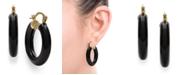 Macy's Black Onyx (25 mm)  Hoop Earrings in 14k Yellow Gold