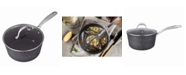 "MasterPan Granite Ultra Non-Stick Cast Aluminum Sauce Pan with Glass Lid, 7"""