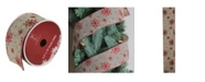 """Northlight Red Snowflake and Beige Burlap Wired Christmas Craft Ribbon 2.5"""" x 10 Yards"""