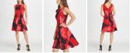 DKNY Abstract Floral Fit & Flare Dress