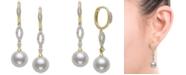 Belle de Mer Cultured Freshwater Pearl (9mm) & Diamond (1/4 ct. t.w.) Drop Earrings in 14k Gold