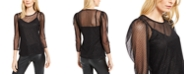 INC International Concepts INC Petite Glitter Mesh Blouse, Created for Macy's