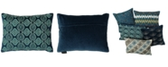 "Mod Lifestyles Holiday Blue Collection Flor Beads Velvet Embroidery Pillow, 14"" X 14"""