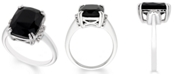 Macy's Black Onyx (12 mm x 10 mm) Diamond Accent Ring in Sterling Silver