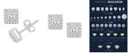 Macy's Certified Princess Diamond 1 ct. t.w. Halo Stud Earrings in 14k White Gold