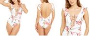 Roxy Juniors' Lahaina Bay Printed Ruffled One-Piece Swimsuit