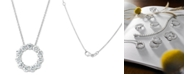 "Macy's Certified Diamond Circle Pendant Necklace (2 ct. t.w.) in 14k White Gold, 16"" + 2"" extender"