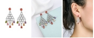 A&M Silver-Tone Multicolor Chandelier Earrings