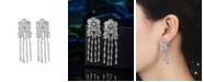 A&M Silver-Tone Flower Chandelier Earrings