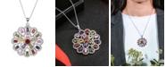 A&M Silver-Tone Multicolored Pendant Charm Necklace