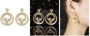 A&M Gold-Tone Flower Hoop Earrings