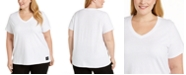 Calvin Klein Plus Size Logo Patch V-Neck T-Shirt