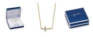 Unwritten Gratitude & Grace Gold Tone Cubic Zirconia Sideways Cross Pendant Necklace
