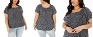 Style & Co Plus Size Printed Square-Neck Top, Created for Macy's