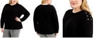 Calvin Klein Plus Size Lace-Up-Trim Sweater