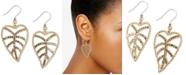 Lucky Brand Gold-Tone Delicate Pavé Open Leaf Drop Earrings