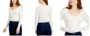 Self Esteem Juniors' Ruched-Front Lace-Hem Top