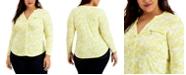 INC International Concepts INC Plus Size Floral Zipper Pocket Blouse, Created for Macy's