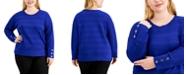 Calvin Klein Plus Size Textured Dolman-Sleeve Sweater