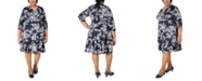 Robbie Bee Plus Size Printed Ruffle Fit & Flare Dress