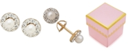 Macy's Children's Cultured Freshwater Pearl (3mm) and Cubic Zirconia Stud Earrings in 14k Gold